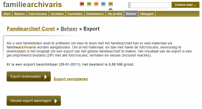 Familie Archivaris - Export functionaliteit