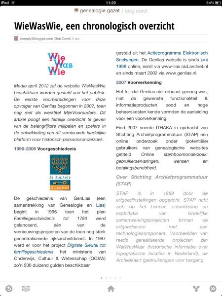 Genealogie Gazet op de iPad - view 5