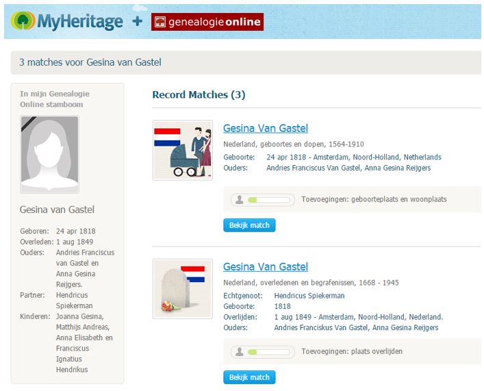 Genealogie Online - MyHeritage matches