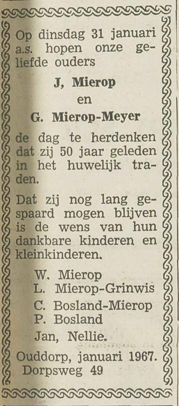 19670131 MIEROP MEIJER JUBILEUM (Jan Mierop)