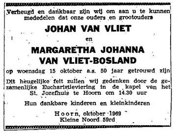 19691015 VLIET van BOSLAND JUBILEUM (Johannes van Vliet)