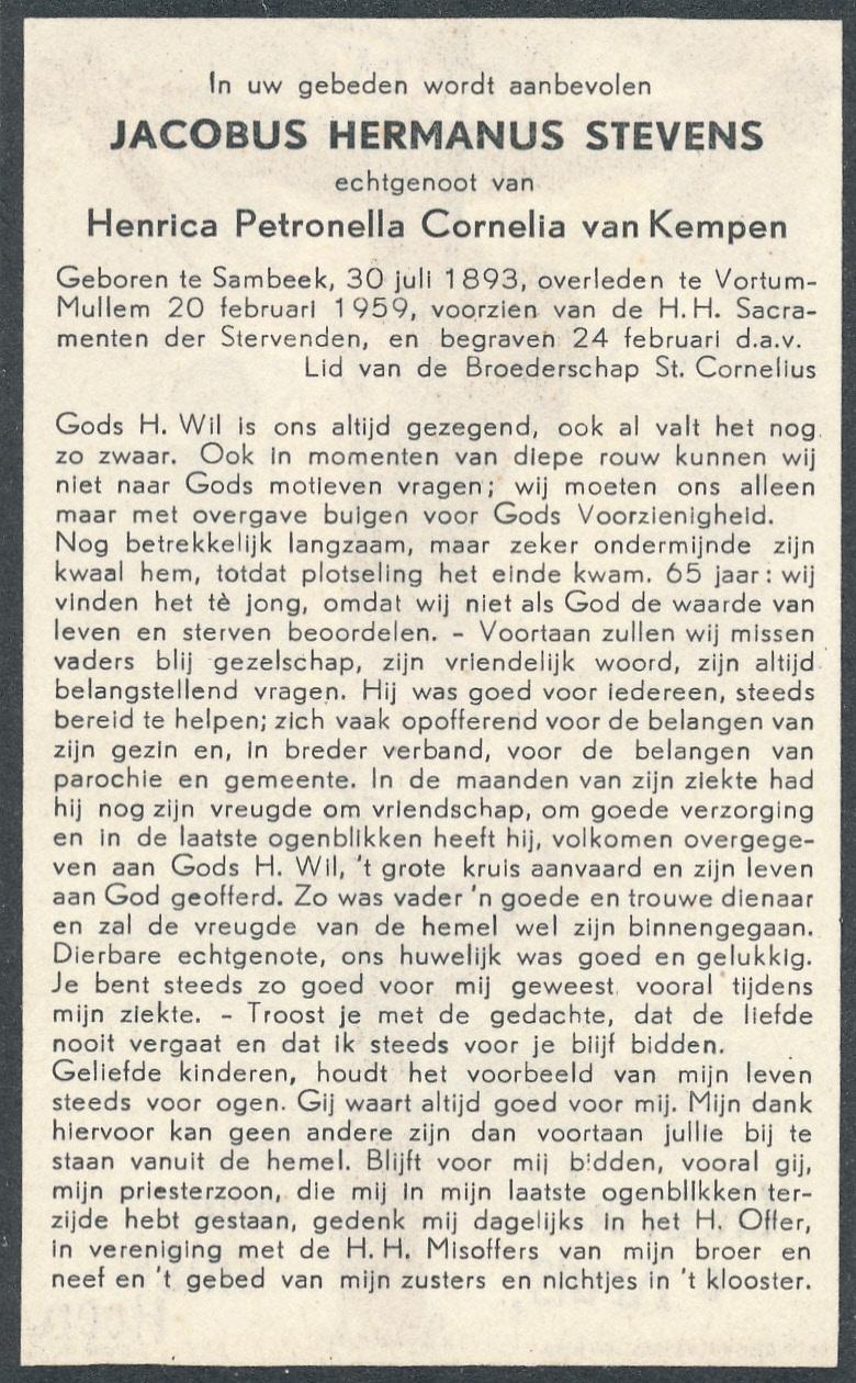 La carte in memoriam de Bidprentjesverzameling Stichting De Oude Schoenendoos - Met veel scans dans la collection de ces cartes de Stichting De Oude Schoenendoos