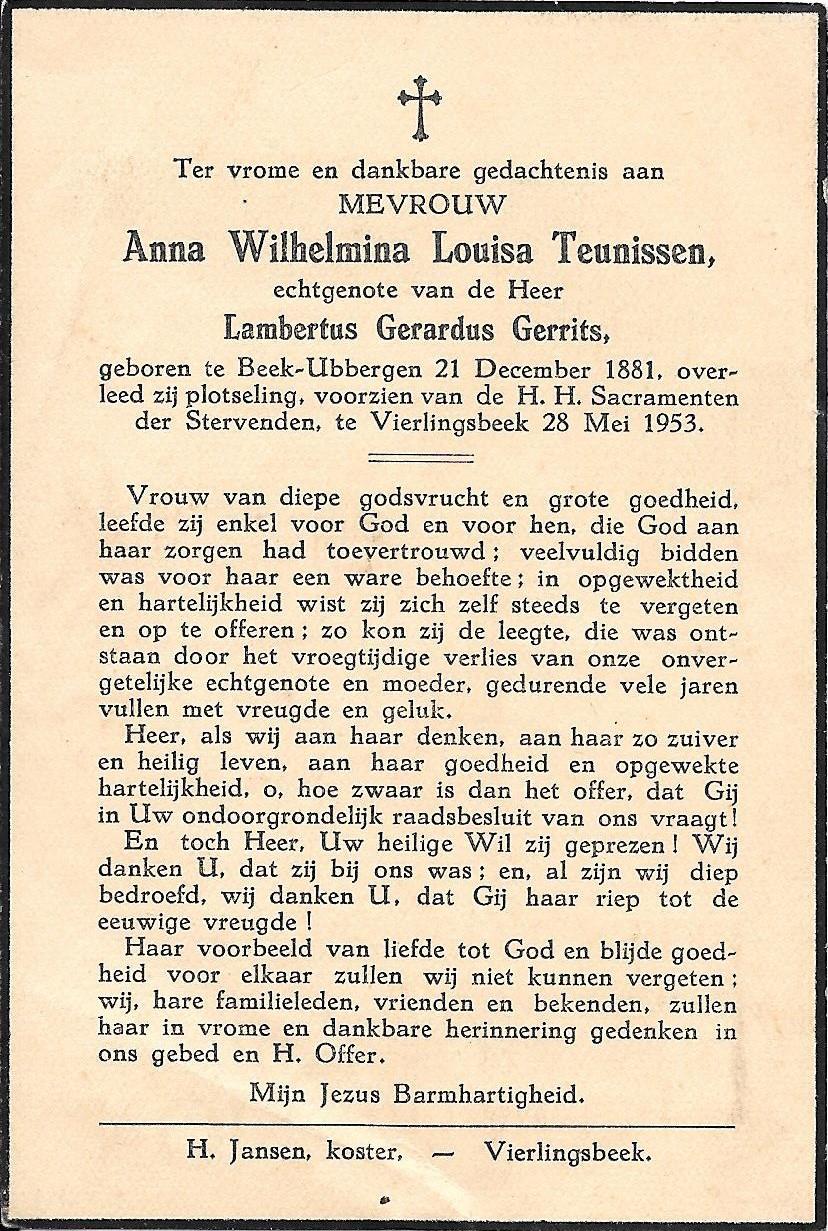 Totenbildchen von Bidprentjesverzameling Stichting De Oude Schoenendoos  aus der Totenbildchensammlung von Stichting De Oude Schoenendoos