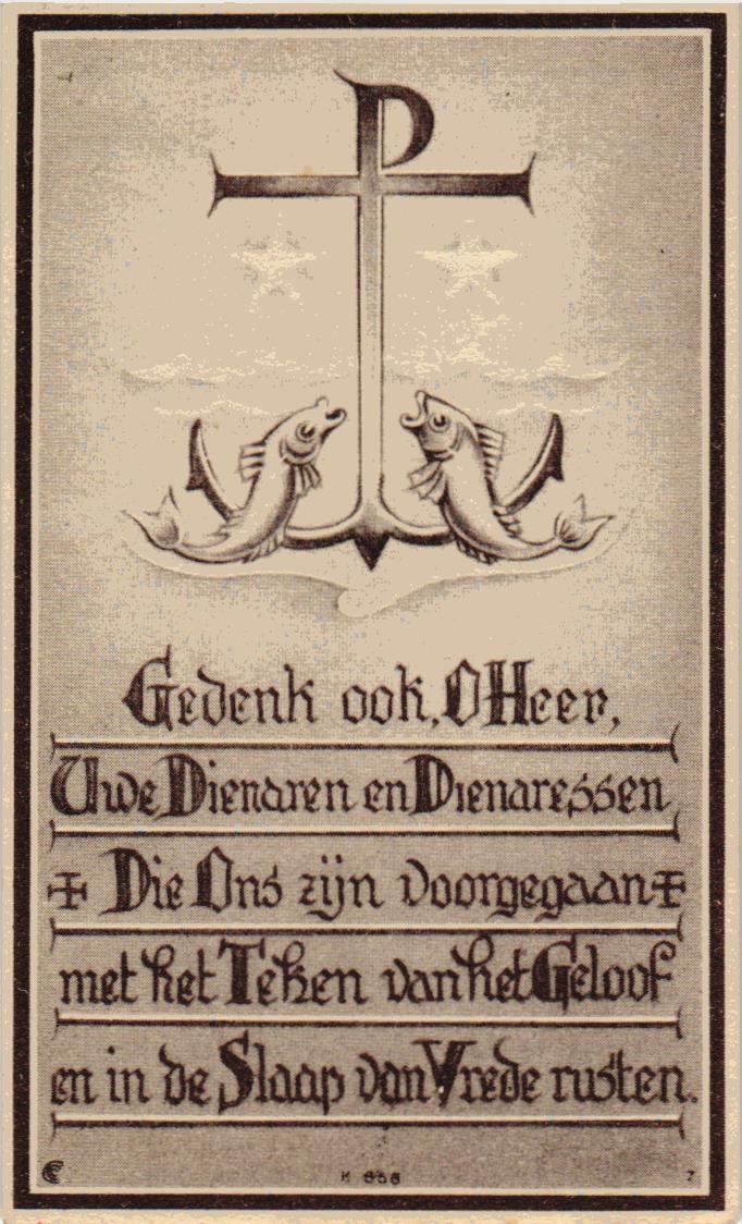 Bidprentje van Bidprentjesverzameling Stichting De Oude Schoenendoos  uit de bidprentjesverzameling van Stichting De Oude Schoenendoos