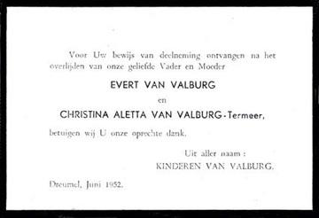Dankbetuiging Christina Aletta Termeer en Evert van Valburg
