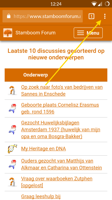 Stamboom Forum op smartphone/tablet 1