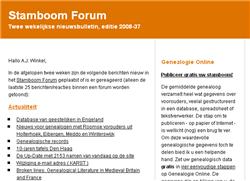 Tweewekelijkse nieuwsbrief van het Stamboom Forum